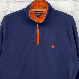 Brooks Brothers fleece logo pullover 1/4 zip blue